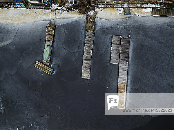 Russia  Saint Petersburg  Sestroretsk  Aerial view of jetties on frozen shore of Gulf of Finland