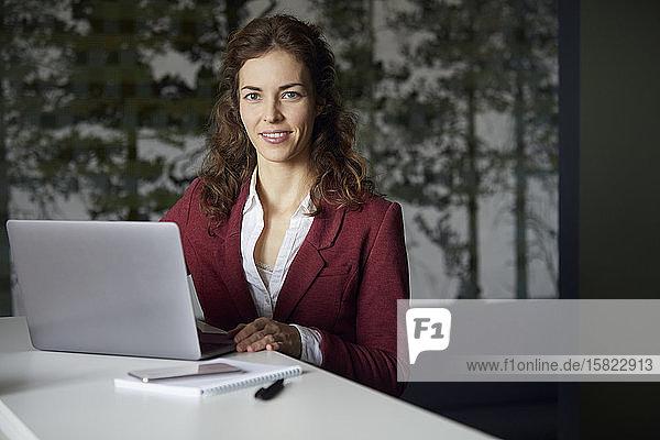 Lächelnde Geschäftsfrau benutzt Laptop im Büro