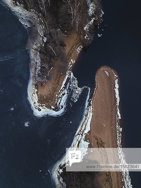Russia  Saint Petersburg  Sestroretsk  Aerial view of frozen shore of Gulf of Finland in winter