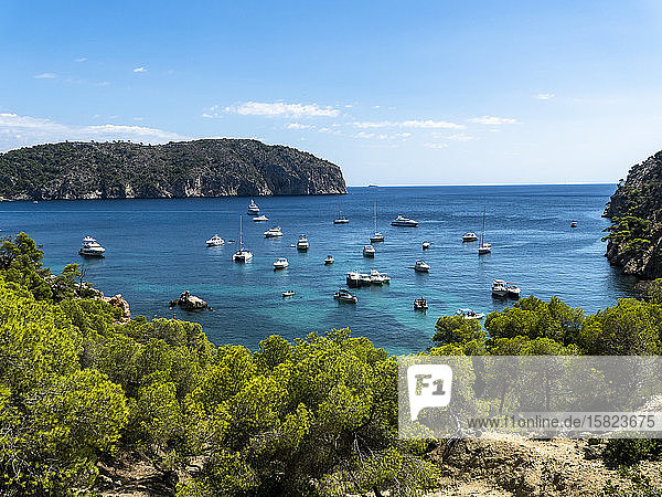 Spain  Balearic Islands  Camp de Mar  Various boats floating in bay of Mallorca island