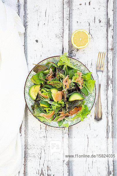 Teller verzehrfertiger grüner Salat mit Rucola  Lollo-Rosso-Salat  Babyspinat  Rote-Bete-Blättern  Avocado  Feldsalat und Lachs