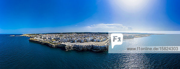 Italy  Polignano a Mare  Panorama of clear blue sky over coastal town in summer