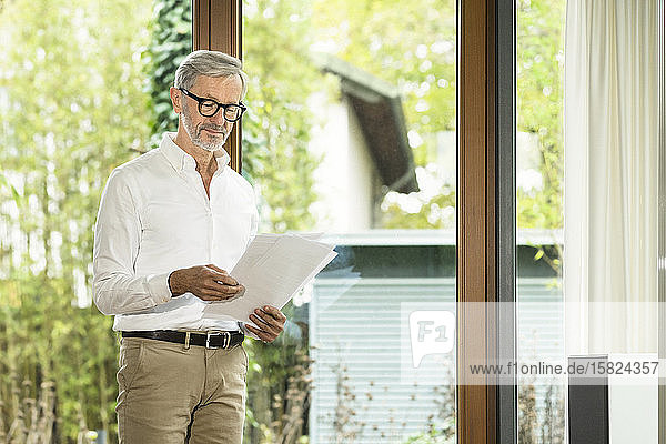 Senior man with grey hair in modern design living room standing at window reading papers in home office