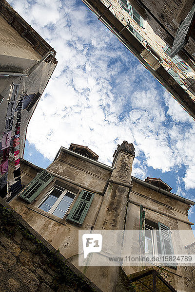 Croatia  Istria  Rovinj  Old buildings in the city  view from below