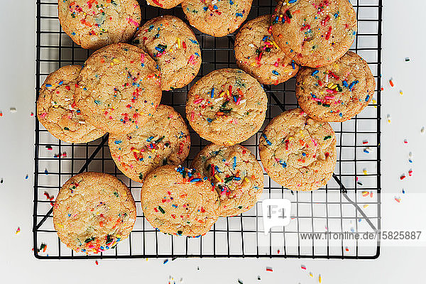 Homemade cookies with colorful sprinkle on baking rack