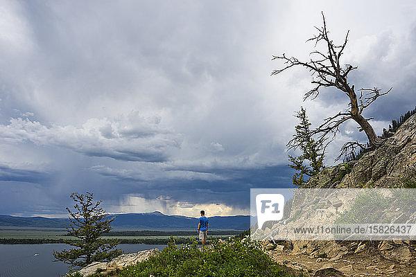 Inspiration Point  Jenny Lake und Jackson Hole Valley unten