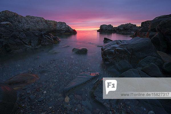 Sunrise on the rocky coast of Maine