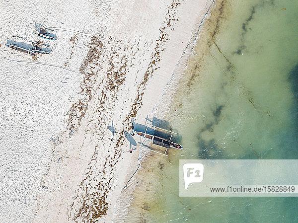 Luftaufnahme des Tanjung Aan Strandes  Lombok Indonesien