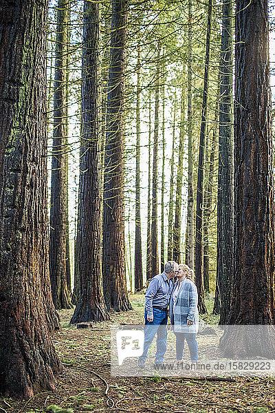 Romantisches Rentnerehepaar küsst sich im Wald.