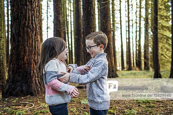 Verspielte Jungen und Mädchen genießen die Zeit draußen im Wald.