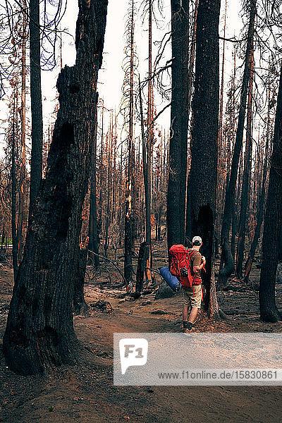 Mann mit Rucksack durch die Verbrennungszone