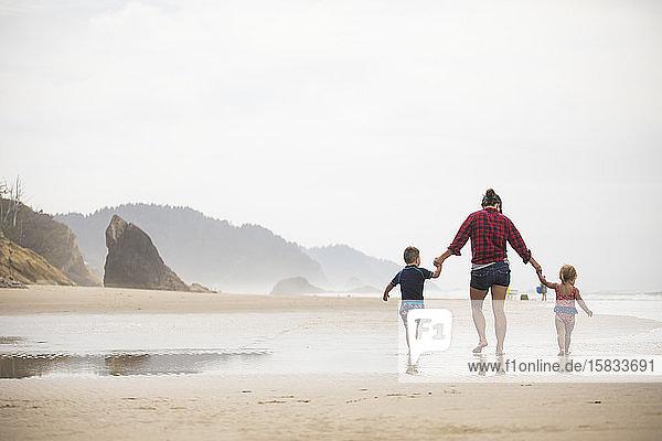 Rückansicht einer Mutter  die mit ihren zwei kleinen Kindern am Strand spazieren geht.