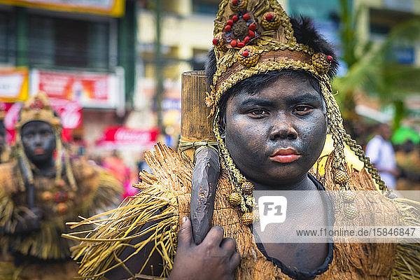 Ati warrior in costume  Ati-Atihan Festival  Kalibo  Philippines