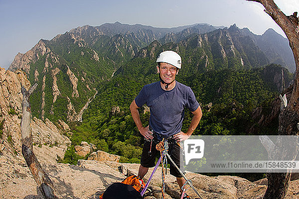 Male climber at belay stand in Seroksan National park