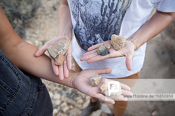 Two best friends share their rock treasures in Joshua Tree.