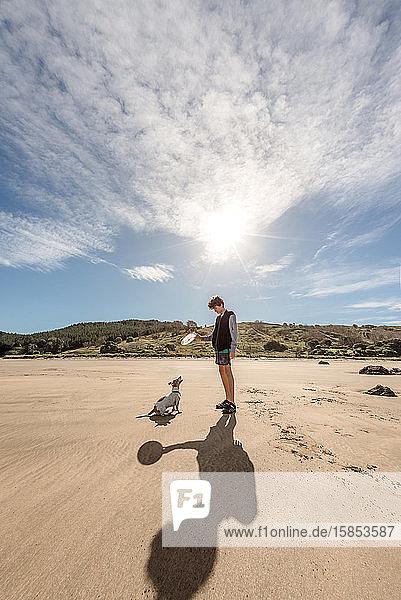 Jugendlicher Junge spielt mit Hund am Strand