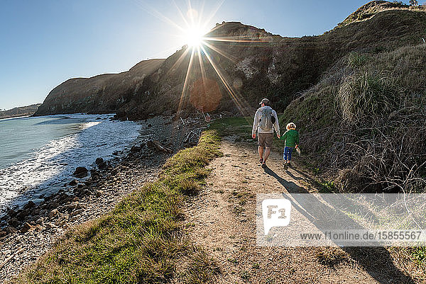 Dad and small child holding hands on path near ocean on a sunny day