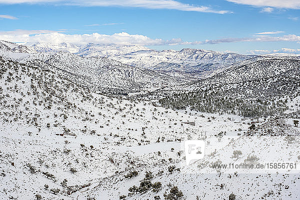 Atlas Mountains landscape during winter snow  Ouarzazate Province  Morocco