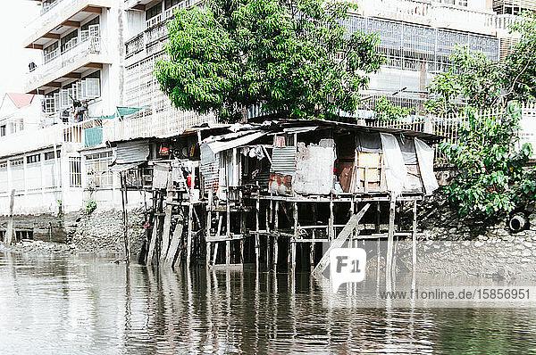 River house at the banks of Chao Phraya River  Bangkok  Thailand