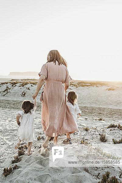 Hinteransicht einer Mutter  die mit einem Kleinkind mit Zwillingsmädchen zum Meer läuft