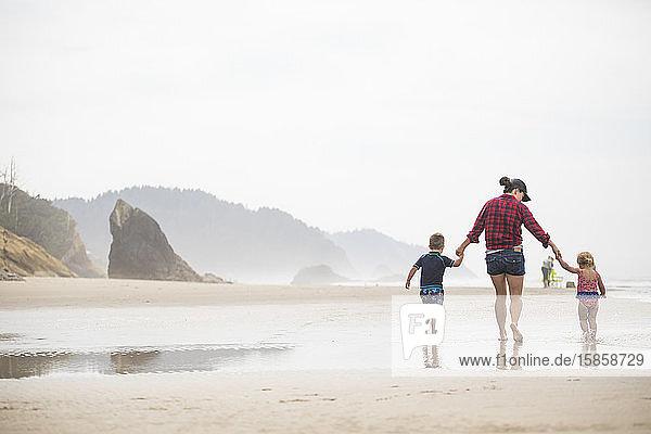 Mutter  die mit ihren zwei kleinen Kindern am Strand spazieren geht.