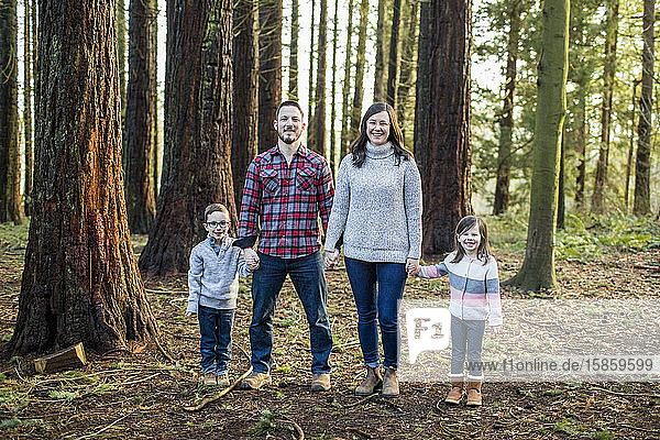 Familie an den Händen haltend  im Wald stehend.