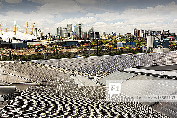 Solar thermal and solar PV panels on the roof of the Crystal building