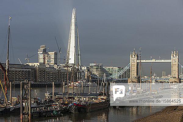 Tower Bridge and the Shard Building  London  England  United Kingdom  Europe