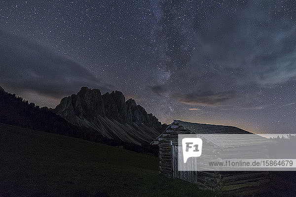The Milky Way in the starry sky above the Odle  Funes Valley  South Tyrol  Dolomites  Italy  Europe