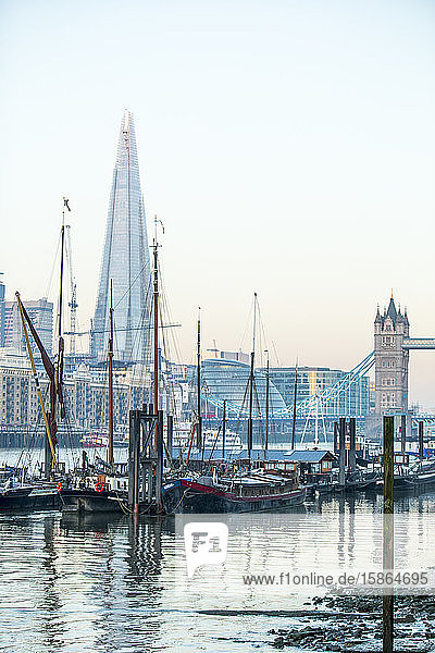 The Shard and Tower Bridge on the River Thames  London  England  United Kingdom  Europe