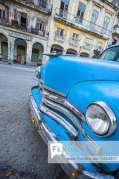 Blue car  Havana  Cuba  West Indies  Caribbean  Central America