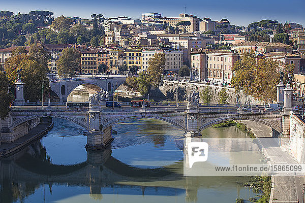 View looking over Vittorio Emanuele II Bridge  Rome  Lazio  Italy  Europe