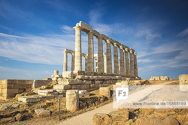 Temple of Poseidon  Cape Sounion  near Athens  Greece  Europe