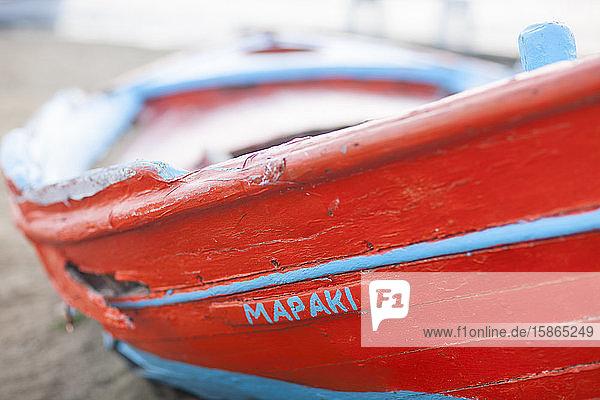 Fishing boat in Mykonos Town  Cyclades  Greek Islands  Greece  Europe