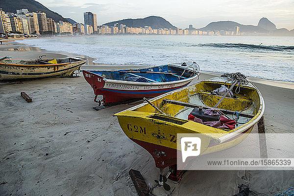 Fishing boats on Copacabana Beach  Rio de Janeiro  Brazil  South America