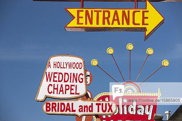 Wedding Chapel sign. Las Vegas  Nevada  United States of America  North America