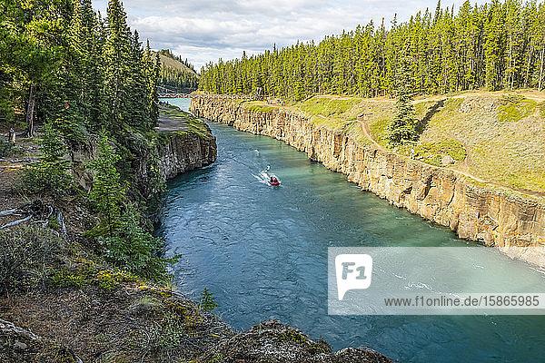 Motorboat going up the Yukon River through Miles Canyon inside the borders of Whitehorse; Whitehorse  Yukon  Canada