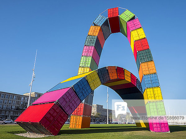 Le Havre container sculpture; Le Havre  Normandy  France