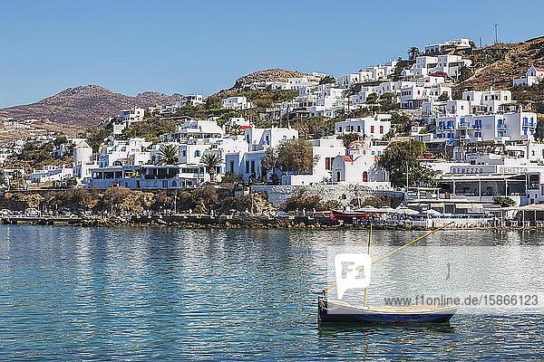 Small sailboat in old harbour; Mykonos Town  Mykonos Island  Greece