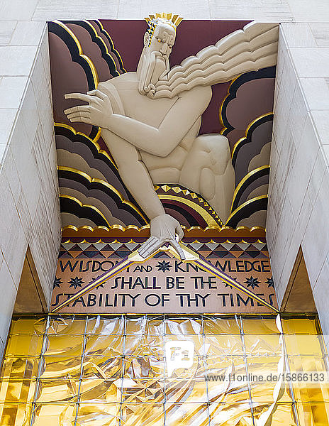 Sign from Isaiah 33:6 over an entrance along the Rockefeller Plaza (Wisdom and knowledge shall be the stability of thy times)  Midtown Manhattan; New York City  New York  United States of America