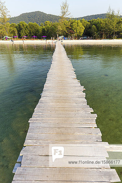 Long wooden dock leading out to the water from Starfish Beach; Phu Quoc  Kien Giang Province  Vietnam