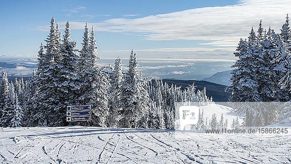 Sign for three ski runs at Sun Peaks Resort in the Rocky Mountains; Sun Peaks  British Columbia  Canada