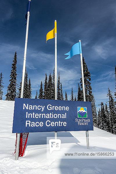 Sign at Nancy Greene International Race Centre  Sun Peaks Resort; Sun Peaks  British Columbia  Canada