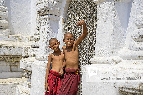Junior monks at a temple  being silly for the camera; Bagan  Myanmar
