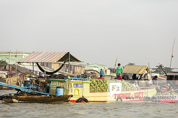 Cai Rang Floating Market in the Hau River  Mekong Delta; Can Tho  Vietnam