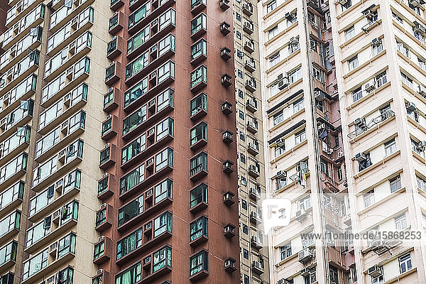 Detail of high-rise apartment buildings; Hong Kong  China