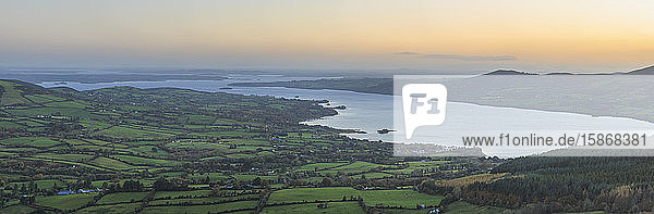 Sunrise over County Clare and Lough Derg  stiched panorama; Killaloe  County Clare  Ireland