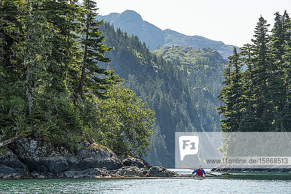 Kayaker paddling in Prince William Sound; Alaska  United States of America