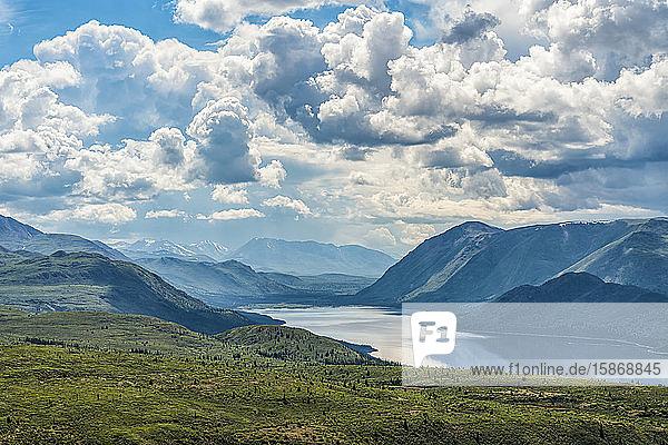 Storm clouds gather over Fish Lake  near Whitehorse; Yukon  Canada