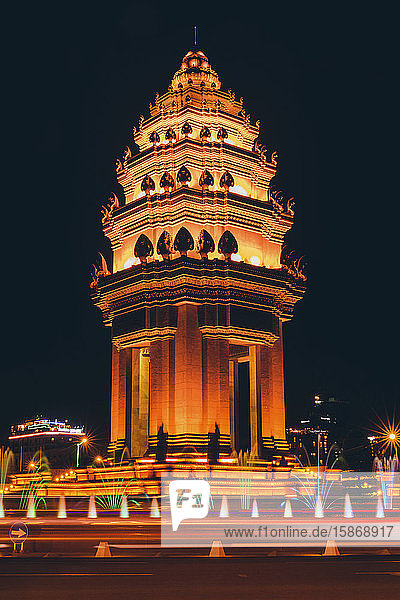 Independence Monument at night in Phnom Penh; Phnom Penh  Phnom Penh  Cambodia